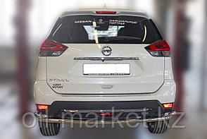 Защита заднего бампера, круглая, длинная с уголками для Nissan X-Trail  (2019-), фото 2