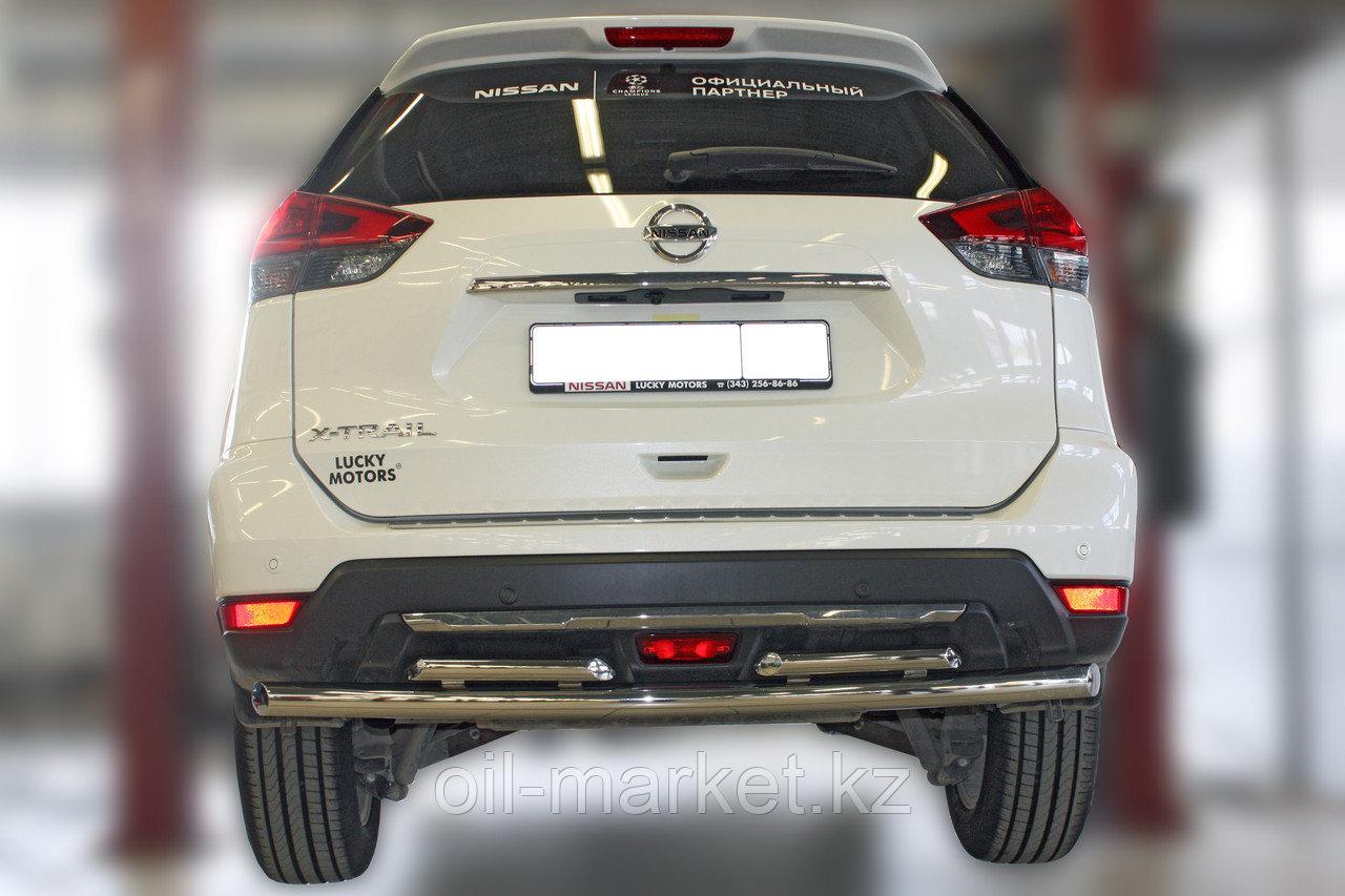 Защита заднего бампера,  двойная круглая для Nissan X-Trail  (2019-)