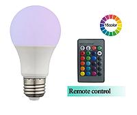 Светодиодная цветная RGBW лампа с пультом