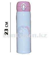 Вакуумный термос с поильником 480 мл с принтом Единорог на сером фоне, белый