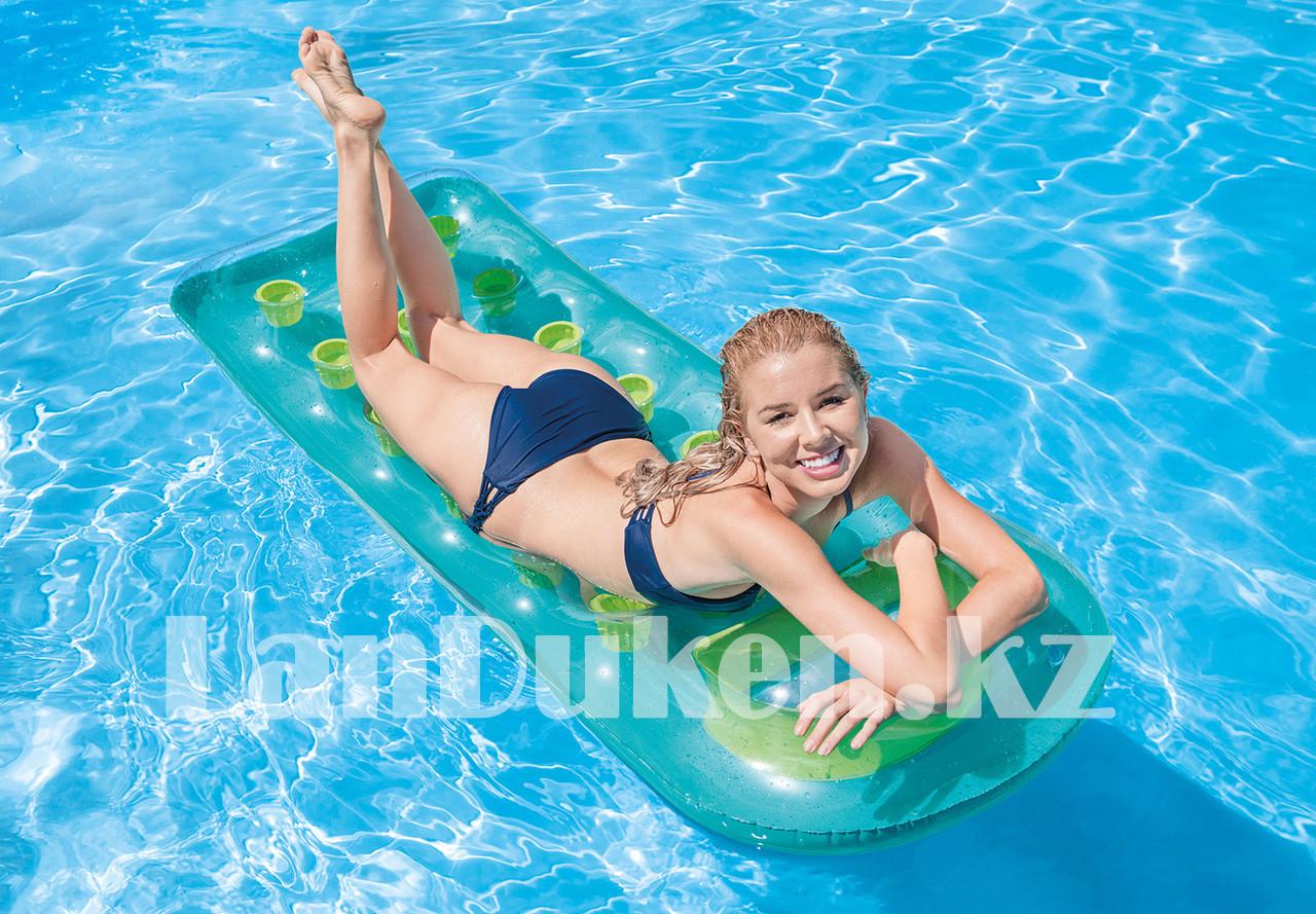 Надувной матрас с подушкой Intex 59895 бирюзовый (+- 1.88 * 77 см) для плавания - фото 1