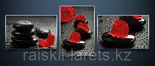"""Схема для вышивания бисером на атласе Полиптих """"Алая роза"""" АРЗ-003"""