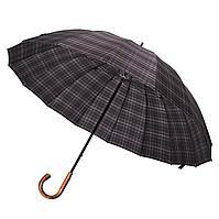Зонт-трость Big Boss, серый в клетку, фото 1