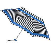 Зонт складной R Pattern, черно-белый в полоску с голубым кантом, фото 1
