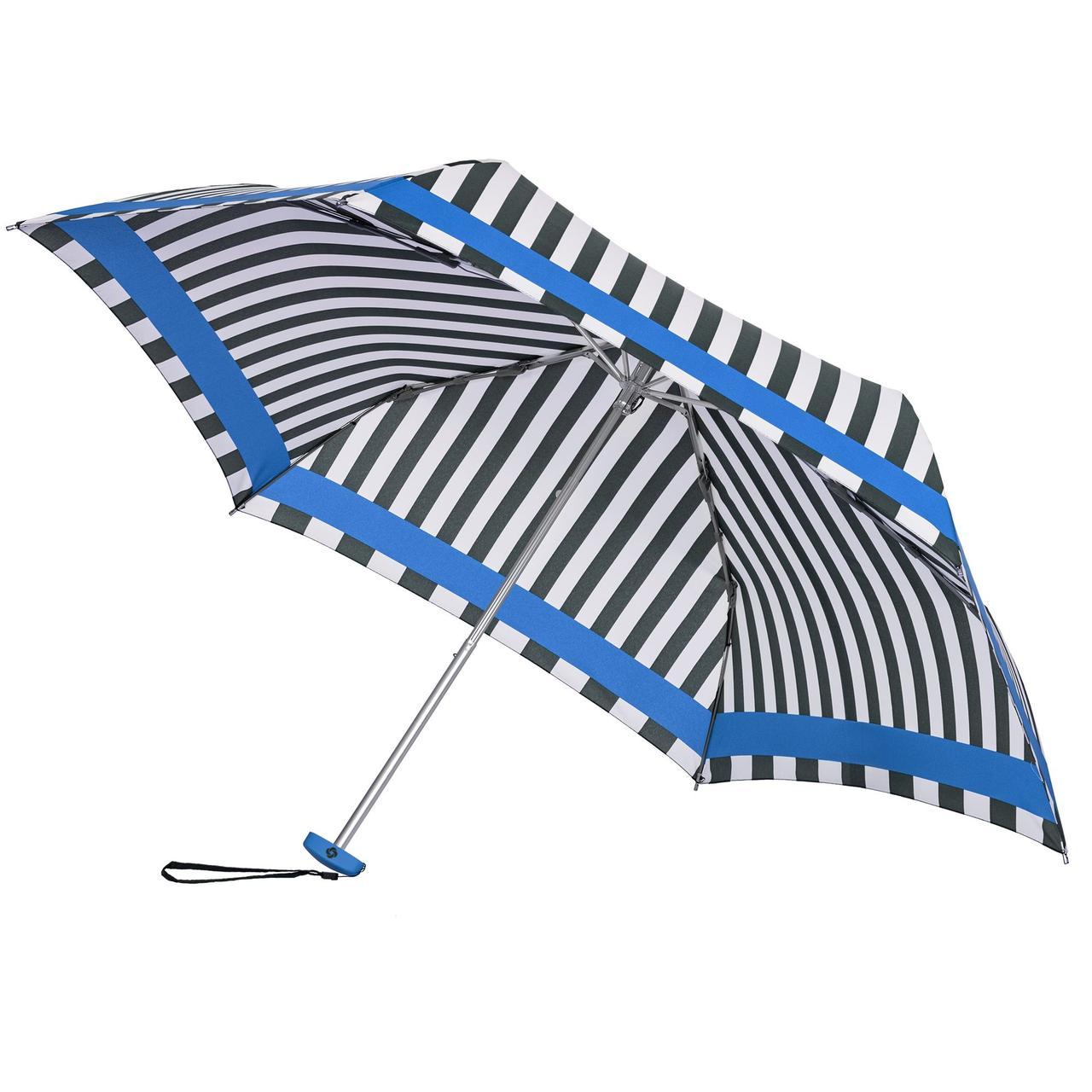 Зонт складной R Pattern, черно-белый в полоску с голубым кантом