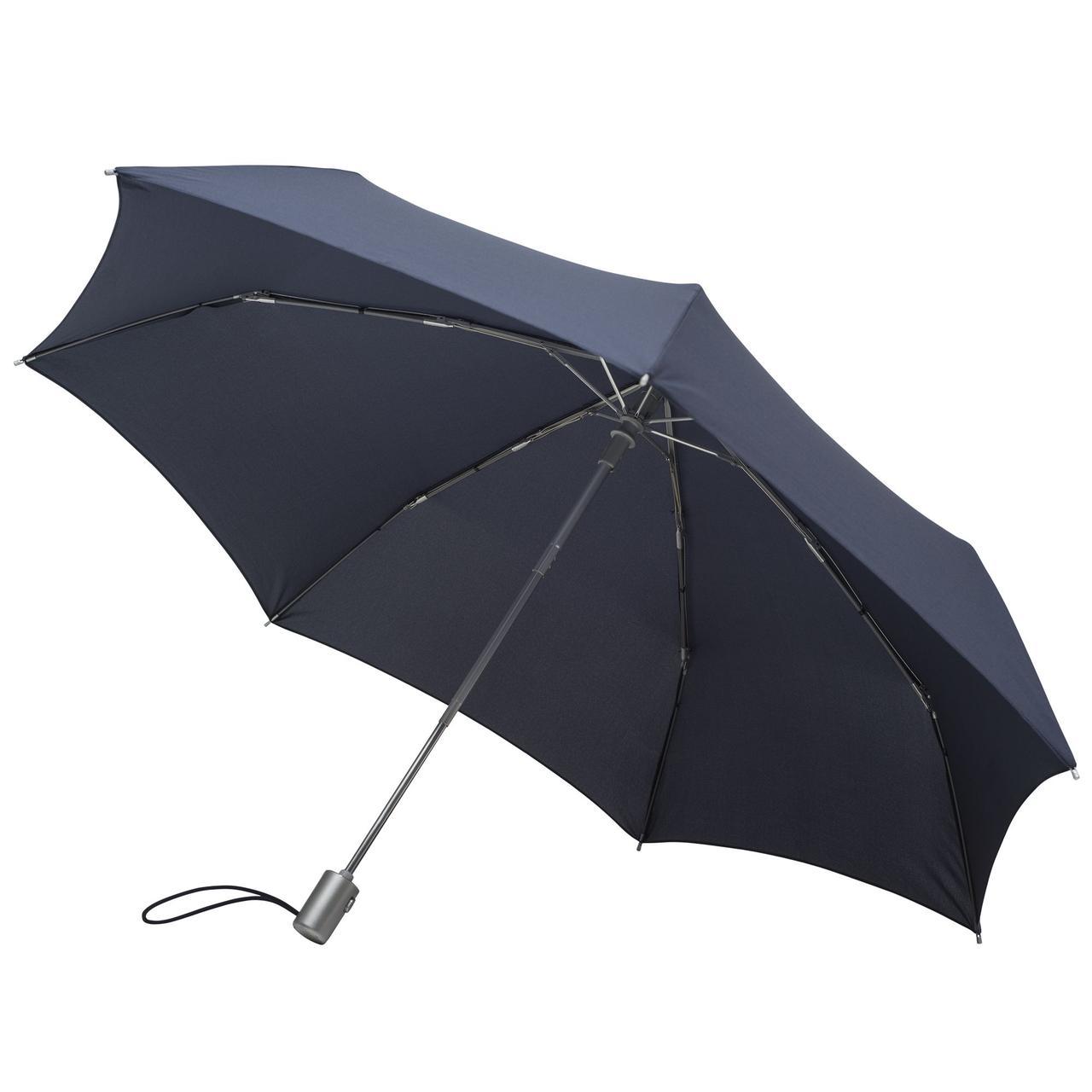 Складной зонт Alu Drop, 3 сложения, 7 спиц, автомат, темно-синий