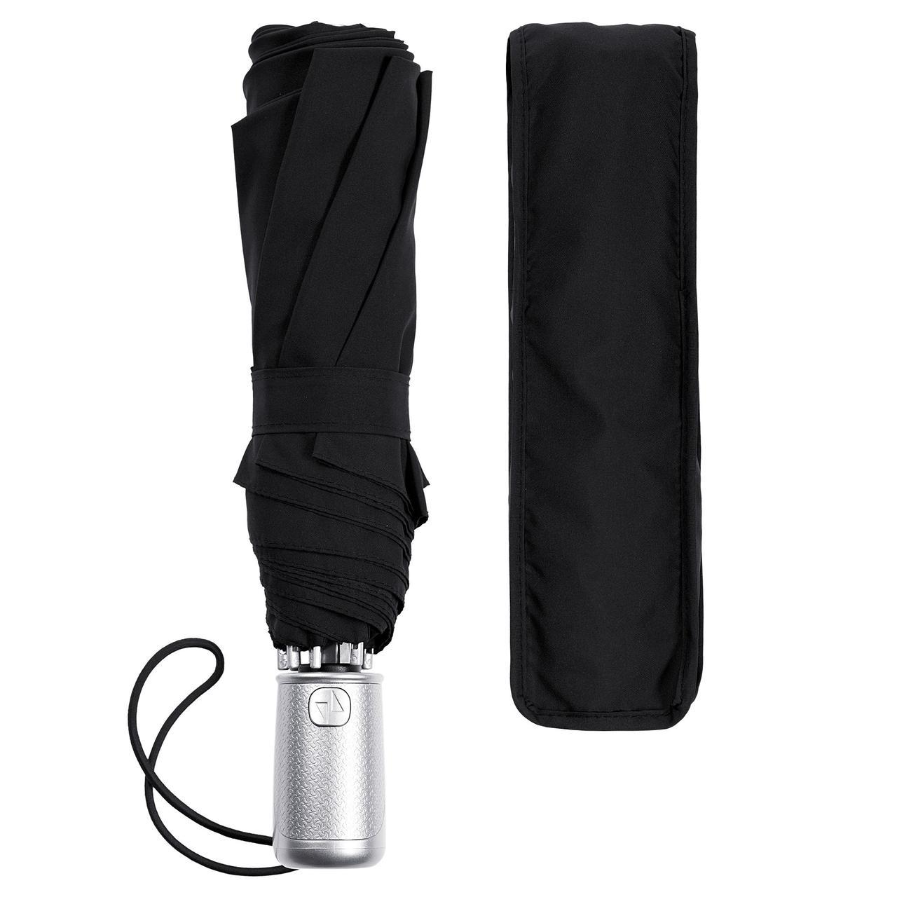 Складной зонт Alu Drop S, 3 сложения, 8 спиц, автомат, черный
