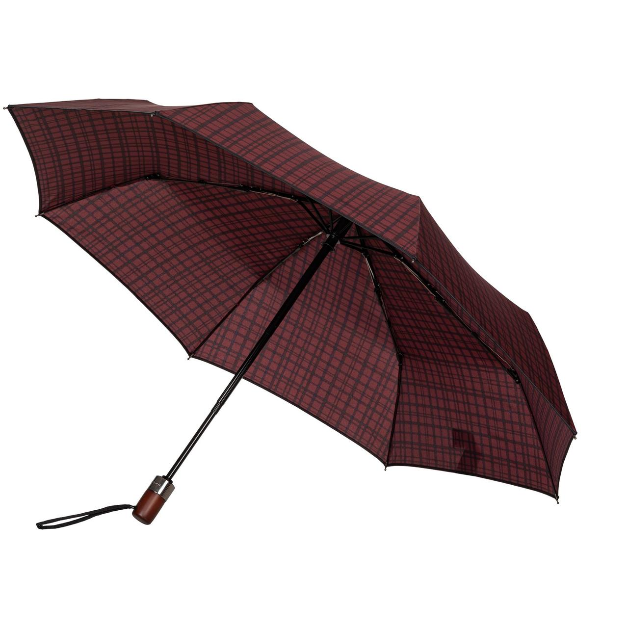 Складной зонт Wood Classic S с прямой ручкой, красный в клетку