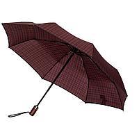 Складной зонт Wood Classic S с прямой ручкой, красный в клетку, фото 1