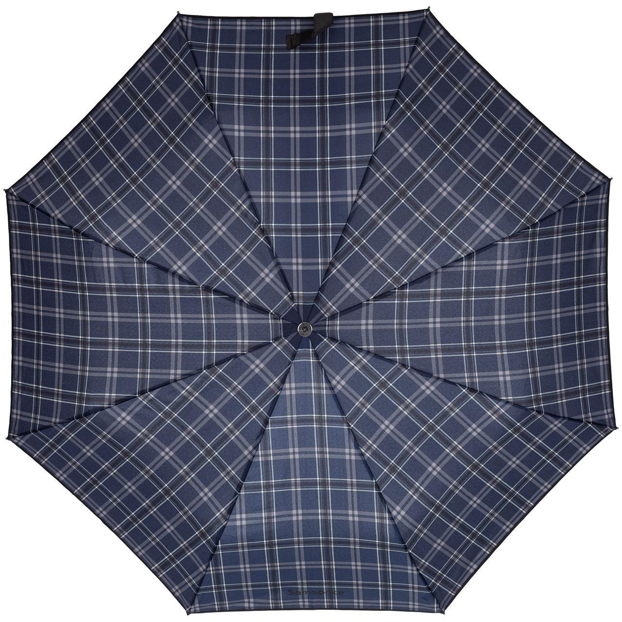 Складной зонт Wood Classic S, синий в клетку