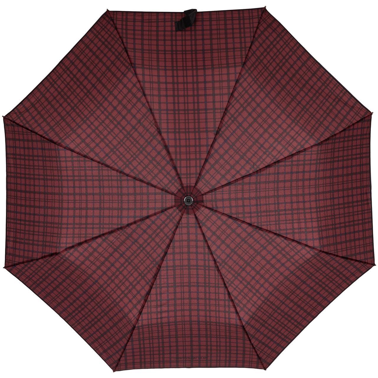 Складной зонт Wood Classic S, красный в клетку
