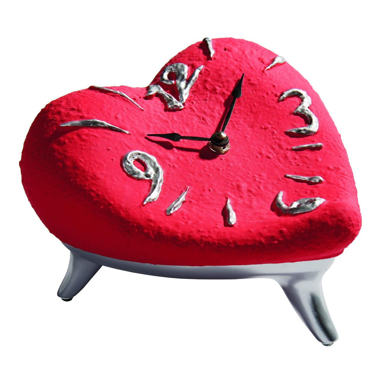 Часы «Сердце», красно-серебристые