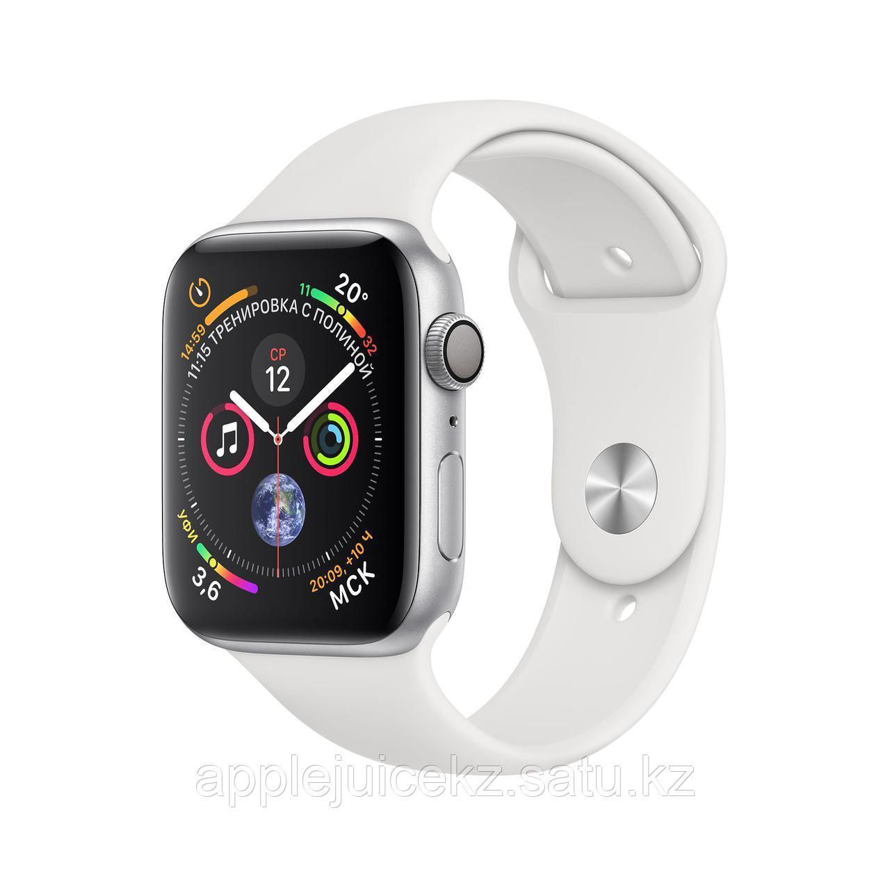 Apple Watch Series 4, 44 мм, корпус из алюминия серебристого цвета, спортивный ремешок белого цвета