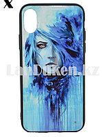 Чехол на iPhone X (Apple iPhone X) принт девушка с синими волосами
