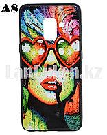 Чехол для смартфона Samsung A8 2018 принт разноцветная девушка с очками в форме сердца