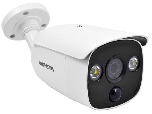 DS-2CE12D8T-PIRL - 2MP Уличная высокочувствительная цилиндрическая HD-TVI камера со Smart-ИК, белой подсветкой и PIR-детекцией, на кронштейне.