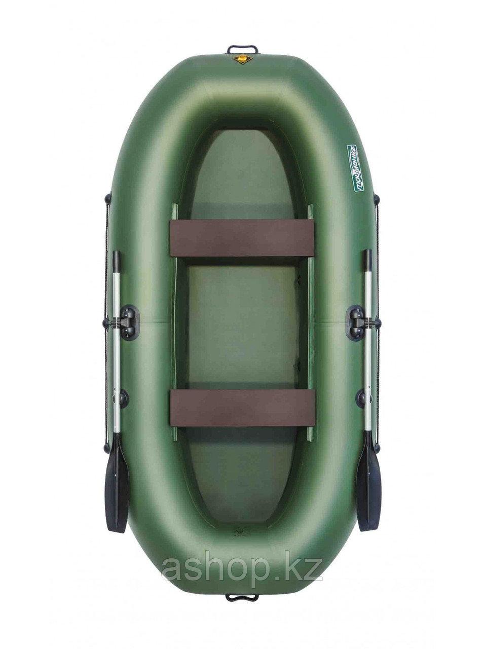 Лодка гребная надувная плоскодонная Таймень V 290, Грузоподъемность: 220кг, Вместимость: 2 чел., Кол-во отсеко