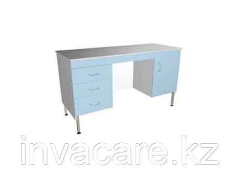 Стол для врача (двухтумбовый на хром.опорах)