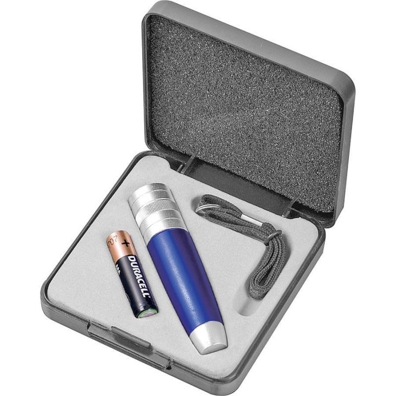 Набор: фонарь, ланъярд и батарейка, серебристый, синий, , 14002