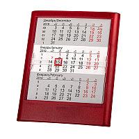 Календарь настольный на 2 года ; прозрачно-красный; 12,5х16 см; пластик; тампопечать, шелкография, Красный, -,
