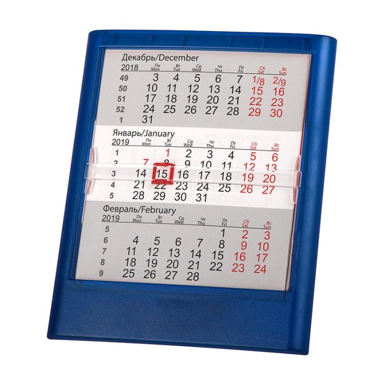 Календарь настольный на 2 года; прозрачно-синий; 12,5х16 см; пластик; тампопечать, шелкография, Синий, -, 9535