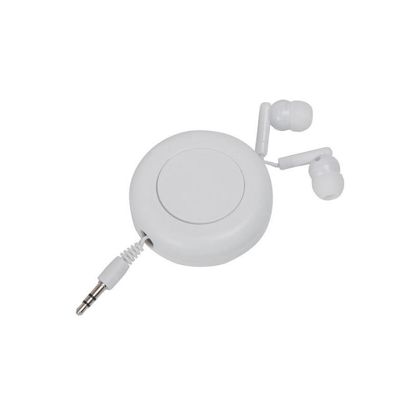 Наушники с убирающимся кабелем, белый, , 11915