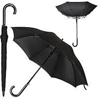Зонт-трость ANTI WIND, пластиковая ручка, полуавтомат, Черный, -, 7429 35