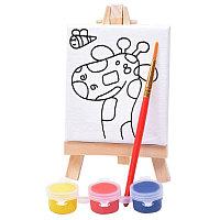 """Набор для раскраски """"Жираф"""":холст,мольберт,кисть, краски 3шт, белый, , 344532D"""