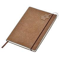 """Бизнес-блокнот А5  """"Indi"""" в клетку , 160 стр, коричневый, рециклированная кожа, Коричневый, -, 22604 41"""
