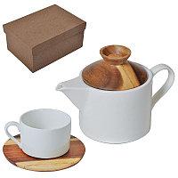 """Набор """"Andrew"""":чайная пара и чайник в подарочной упаковке, коричневый, белый, , 21601"""