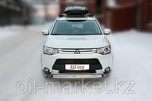 Защита переднего бампера, овальная для Mitsubishi Outlander (2014-2015), фото 2