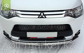 Защита переднего бампера, круглая для Mitsubishi Outlander (2014-2015), фото 2