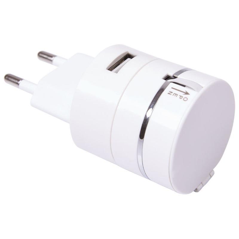 Сетевой адаптер PLUG для зарядки устройств c USB выходом и кабелем 3-в-1, белый, , 23002