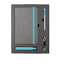 Набор  FANCY:универсальное зарядное устройство(2200мАh), блокнот и ручка в подарочной коробке,голубо, Голубой,