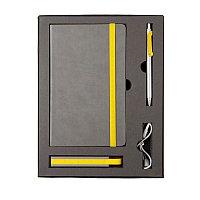 Набор  FANCY: универсальное зарядное устройство(2200мAh), блокнот и ручка в подарочной коробке, Желтый, -,