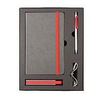Набор  FANCY: универсальное зарядное устройство(2200мAh), блокнот и ручка в подарочной коробке, Красный, -,