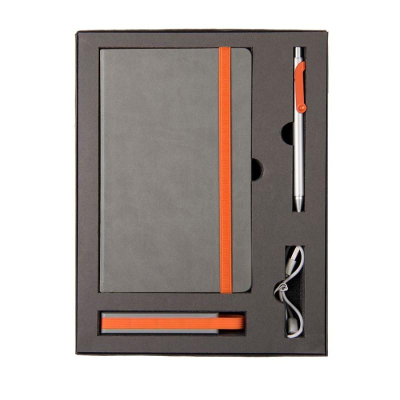 Набор  FANCY: универсальное зарядное устройство(2200мAh), блокнот и ручка в подарочной коробке, Оранжевый, -,