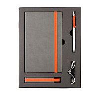 Набор  FANCY: универсальное зарядное устройство(2200мAh), блокнот и ручка в подарочной коробке, Оранжевый, -,, фото 1