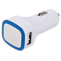 """Автомобильный адаптер """"Mobicar"""" для зарядки мобильных устройств с подсветкой и двумя USB-портами, белый,"""