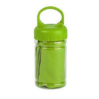 """Спортивное полотенце в пластиковом боксе с карабином """"ACTIVE"""", микрофибра, пластик, 30*88 см. зелён, Зеленый,"""