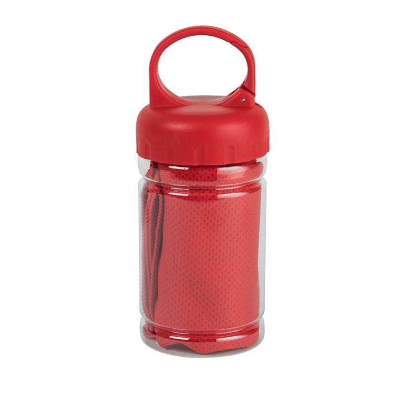 Полотенце спортивное в пластиковом боксе с карабином ACTIVE, Красный, -, 11920 08