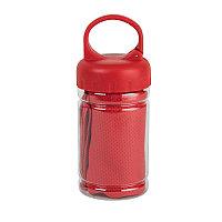 """Спортивное полотенце в пластиковом боксе с карабином """"ACTIVE"""", микрофибра, пластик, 30*88 см. красн, Красный,"""