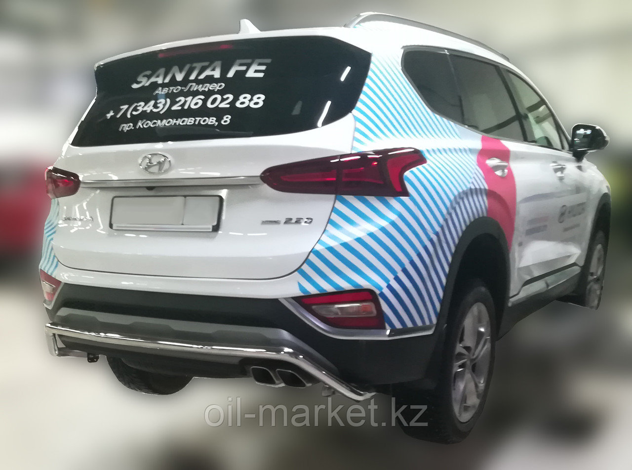 Защита заднего бампера, волна для Hyundai Santa Fe ( 2018-)