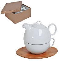 """Набор  """"Мила"""": чайник и чайная пара в подарочной упаковке, коричневый, белый, , 21501"""