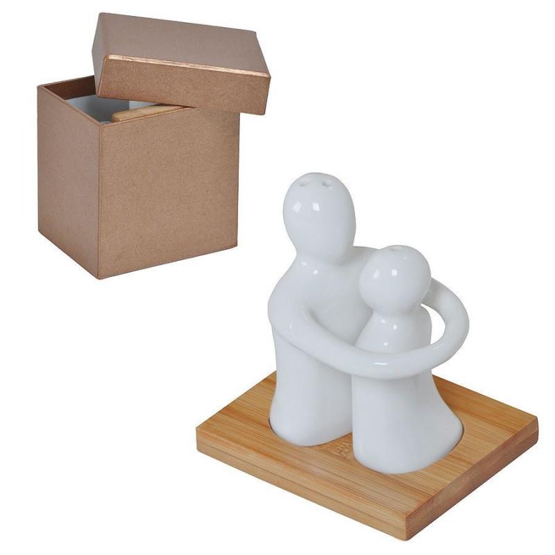 """Набор  """"Объятия"""": солонка и перечница в подарочной упаковке, коричневый, белый, , 21502"""