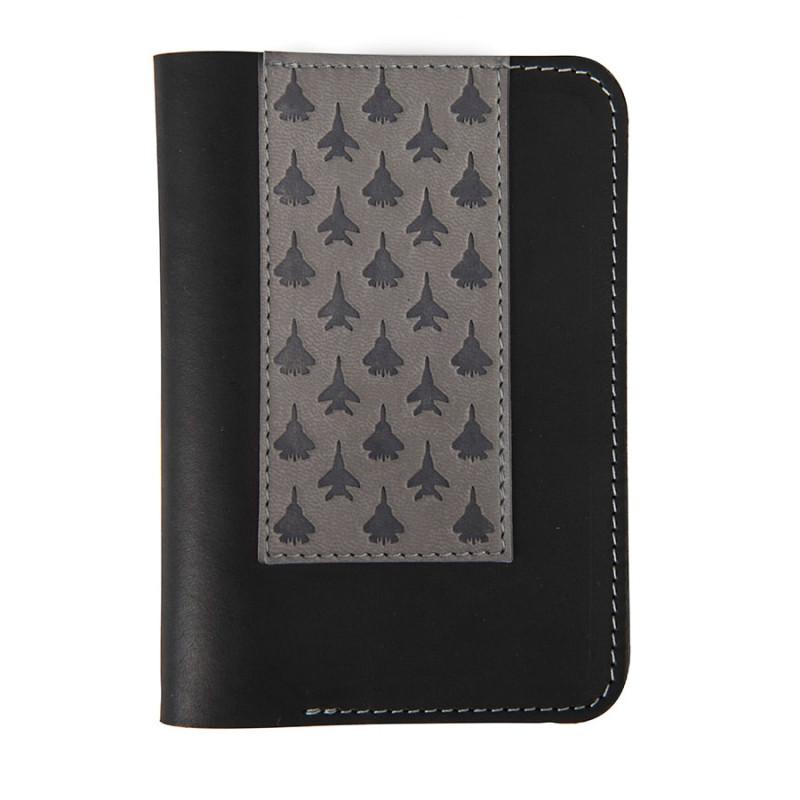 """Обложка для паспорта """"Самолеты"""", черный, серый, , 34006"""