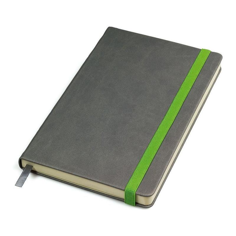 """Бизнес-блокнот """"Fancy"""", 135х210 мм, серый/зеленый, твердая обложка,  резинка 10 мм, блок-линейка, Серый, -,"""