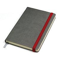 """Бизнес-блокнот """"Fancy"""", 135х210 мм, серый/красный, твердая обложка,  резинка 10 мм, блок-линейка, Серый, -,"""