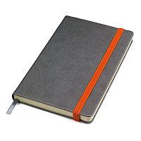 """Бизнес-блокнот """"Fancy"""", 135х210 мм, серый/оранжевый, твердая обложка,  резинка 10 мм, блок-линейка, Серый, -,"""