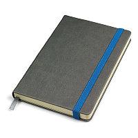 """Бизнес-блокнот """"Fancy"""", 135х210 мм, серый/синий, твердая обложка,  резинка 10 мм, блок-линейка, Серый, -,"""